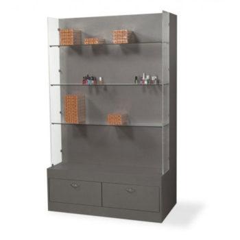 Etagère vitrine en bois gris avec étagères en verre et 2 tiroirs de rangements
