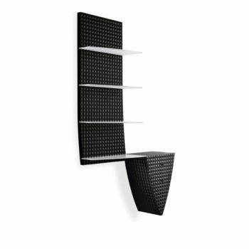 Espace vente, panneau mural avec extension tiroirs noir laqué avec effets et étagères de présention blanches en verre