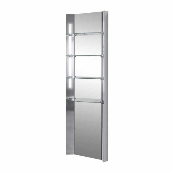 Meuble exposition avec étagères en verre sur structure en métal brillant avec néons sur les côtés