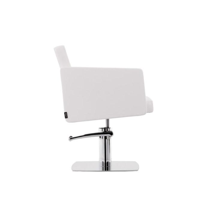 fauteuil de coiffure blanc profil avec pompe hydraulique