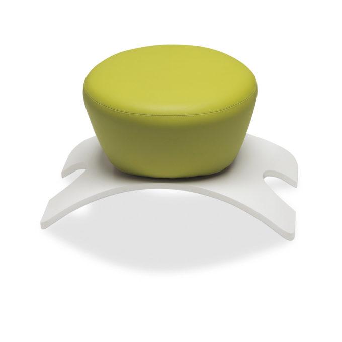 tabouret attente coiffure avec structure en stratifié blanc et assise ronde en skai vert