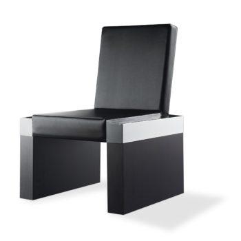 siège d'attente noir et métal avec dossier et assise rembourré en skai noir