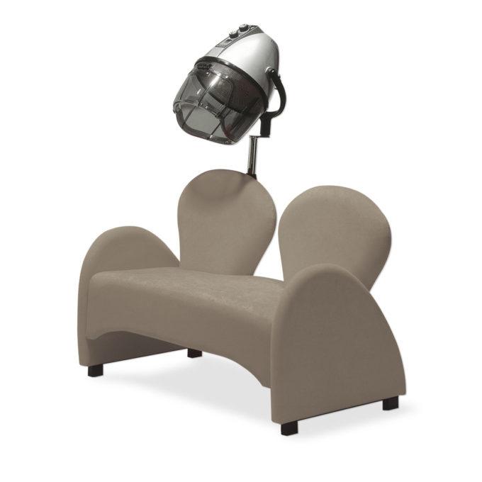 canapé d'attente 2 places avec deux dossiers en forme de goutte, accoudoirs arrondis, en skai taupe