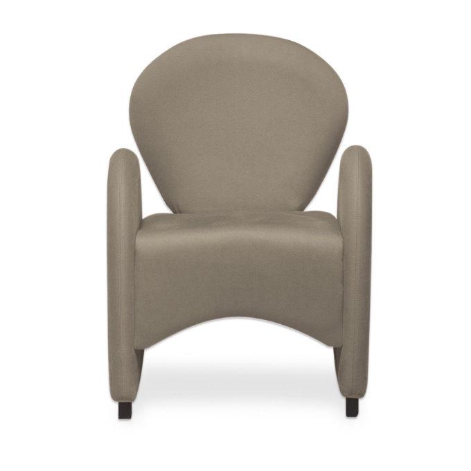 fauteuil d'attente forme originale et goutte d'eau en skai taupe