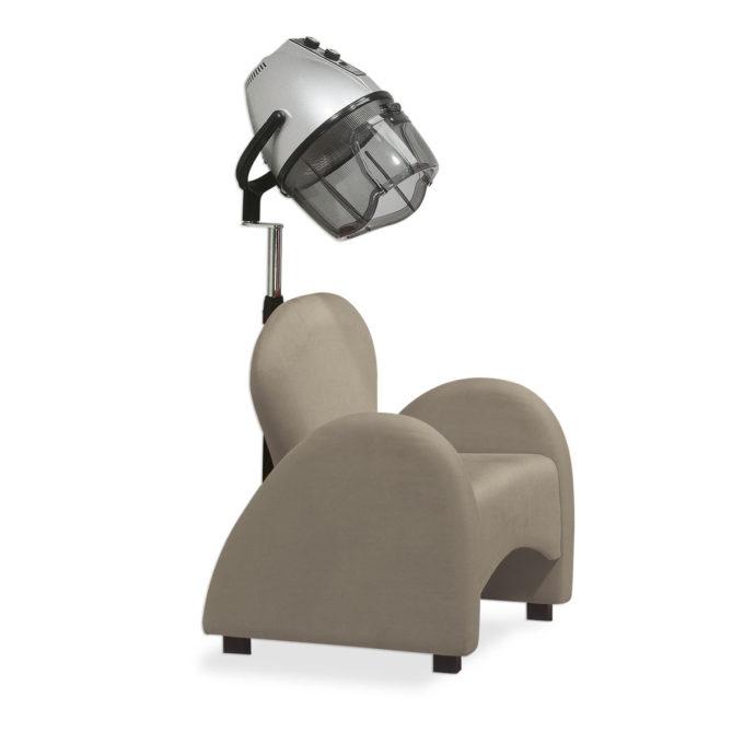 fauteuil d'attente designer italien couleur taupe avec casque de coiffure