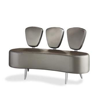 Banquette sur pieds en métal mousse haute densité avec 3 dossiers distincts tapissés de skai
