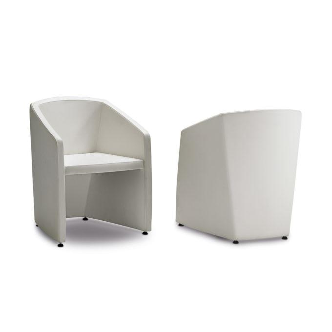 chaise d'attente structure en bois avec assise et tapisserie en skai blanc