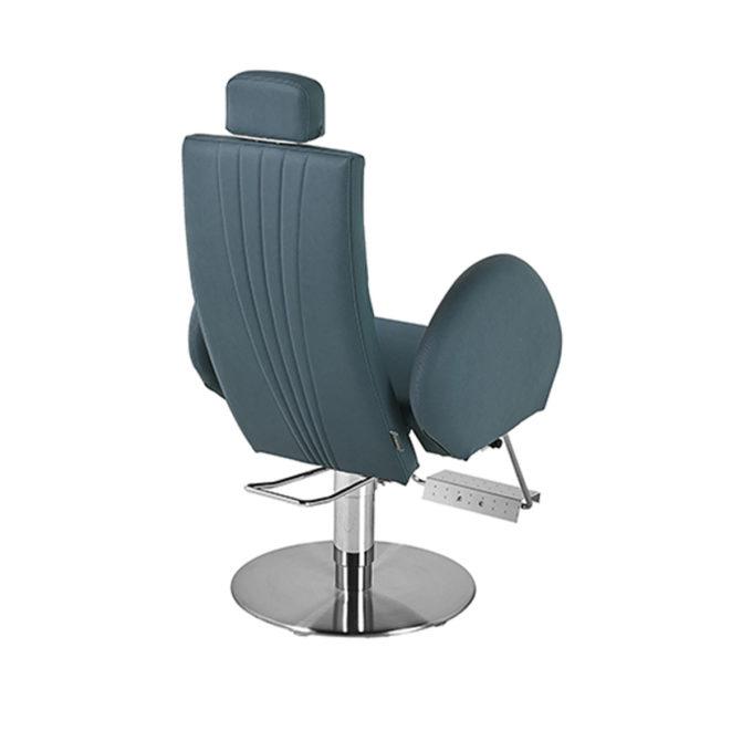 fauteuil de barbier en skai bleu avec pompe hydraulique