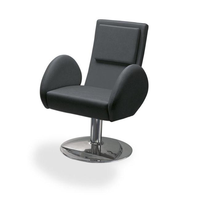 fauteuil de coiffure accoudoirs et pied ronds, grand dossier finition similicuir noir