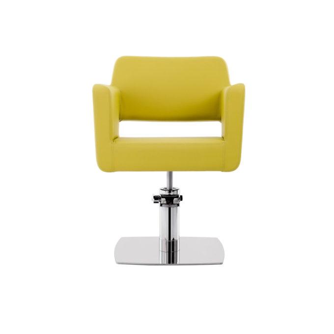 chaise de coiffure vert citron avec pied carre