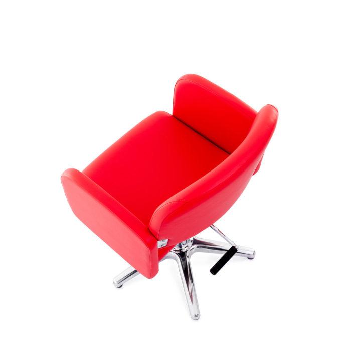 fauteuil de coiffeur rouge carmin avec pied étoile et pompe hydraulique Elma