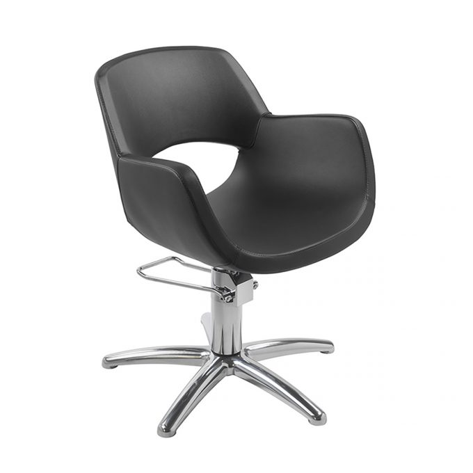 fauteuil de coiffure noir meg avec pied étoile en similicuir