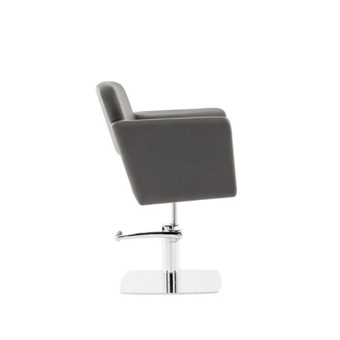 chaise de coiffure monobloc noir pied métal carre