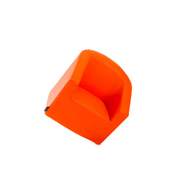Fauteuil pour enfant de coiffure orange flashy, assise en mousse haute densité, tapisserie skai