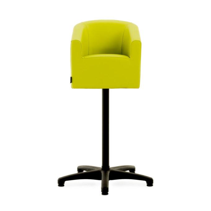 Petit fauteuil de coiffure pour enfant avec base élevée en hauteur sur pied fixe en étoile noir, assise en mousse renforcé et en skai vert anis