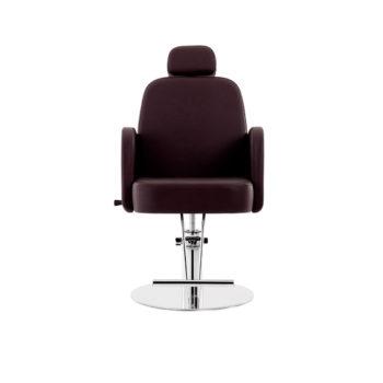 fauteuil de coiffure marron chocolat avec pied rond et repose pieds en métal brillant et appuie tête