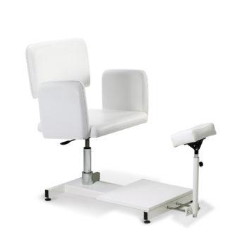 Chaise de pédicure rembourrée en mousse épaisse et skai avec repose pied blanc, structure en métal, réglagle de la hauteur