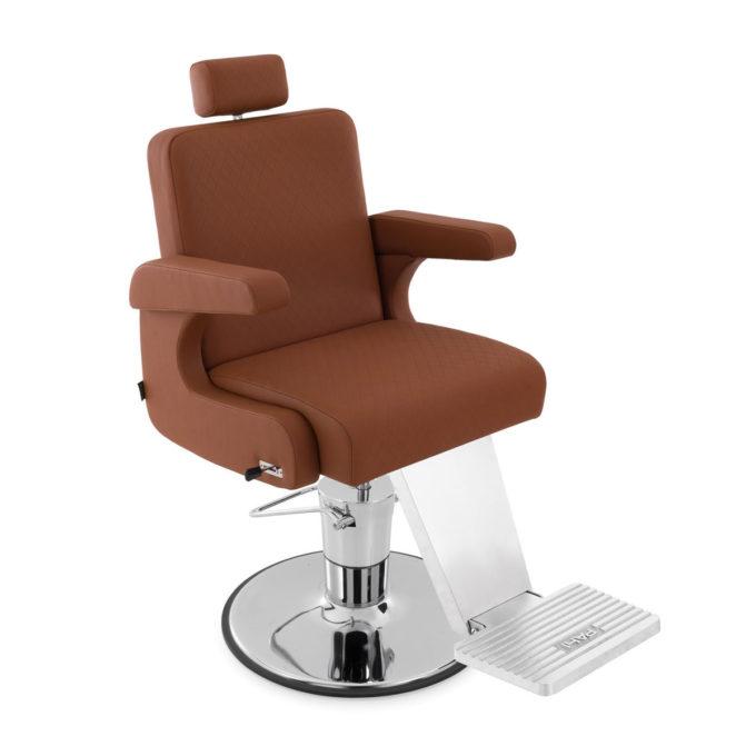 fauteuil de barbier moderne et chic avec accoudoir rembourré repose tête extensible et repose pieds et base en métal