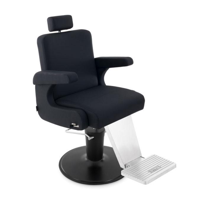 fauteuil de barbier moderne et chic avec accoudoir rembourré repose tête extensible et repose pieds et base en métal couleur noir