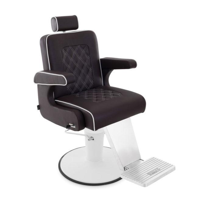 fauteuil de barbier pied blanc en métal avec revêtement en skai noir coutures blanches en losange