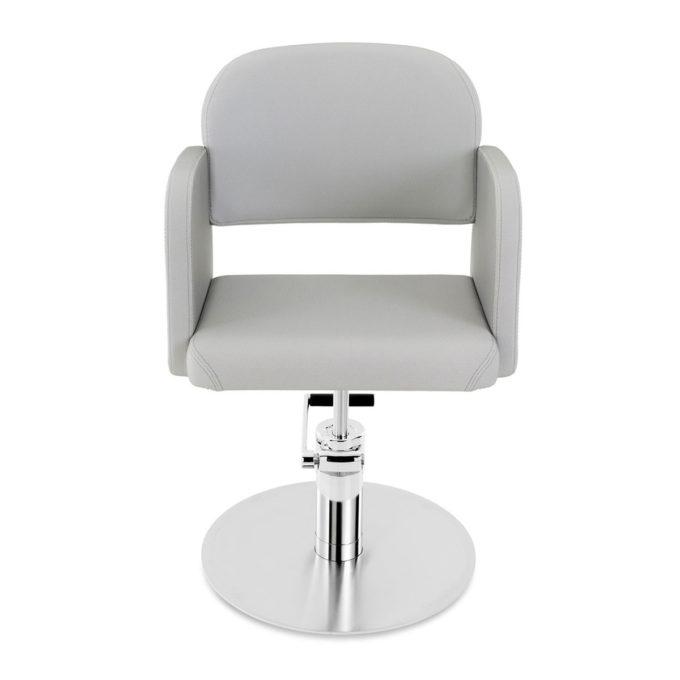 fauteuil de coiffure pied rond métal brillant et revêtement gris clair