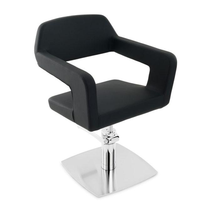 Fauteuil de coiffure noir contemporain avec dossier ouvert et pied carré en métal brillant