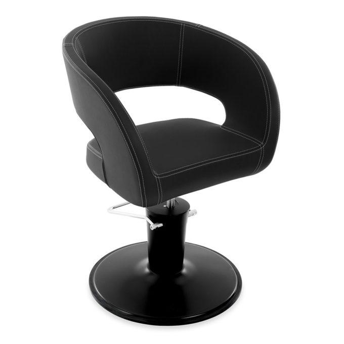 Siège de coiffure monobloc avec ouverture dans le dos, assise et dossier enveloppant, pied rond noir et skai noir