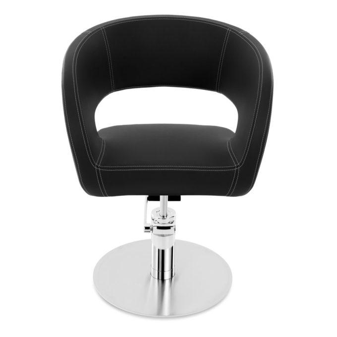 fauteuil noir arrondi avec pied rond métal