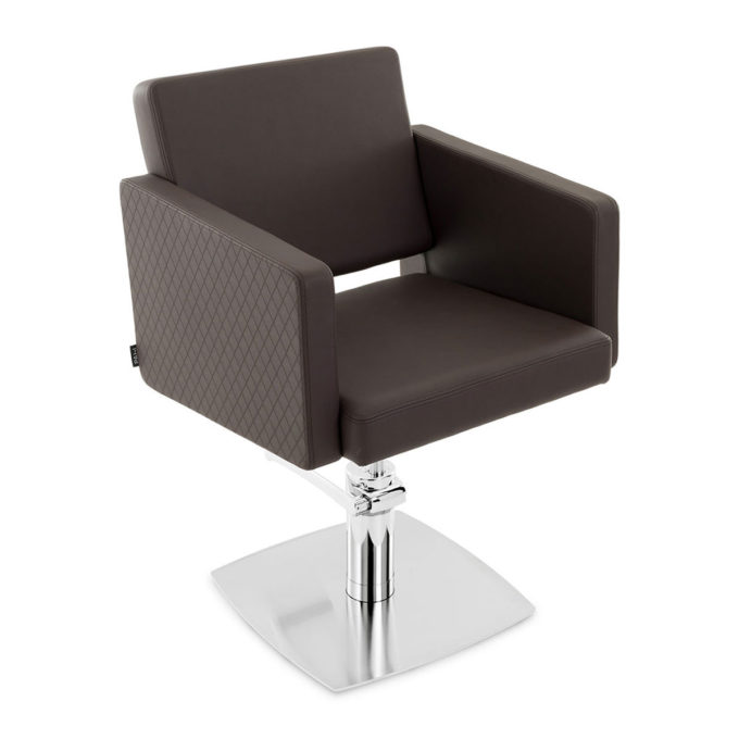 siège de coiffeur pied brus en métal brillant avec assise profonde et confortable couleur chocolat effet quadrillé