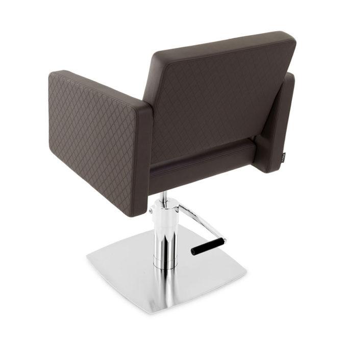 fauteuil marron foncé de coiffure avec pied carré