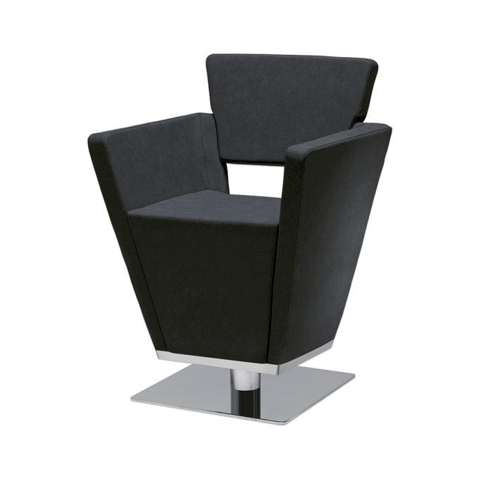 Fauteuil forme triangulaire en mousse épaisse avec revêtement en similicuir noir, pied carré