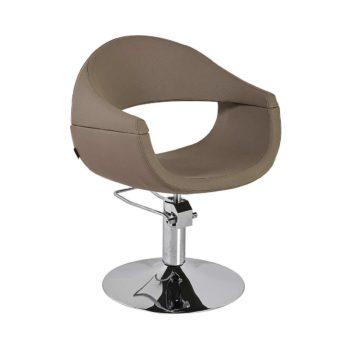 fauteuil de coiffure pied rond avec pompe hydraulique marron sable
