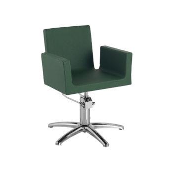 siège de coiffage vert bouteille forme géométrique et moderne, pied étoile chromé