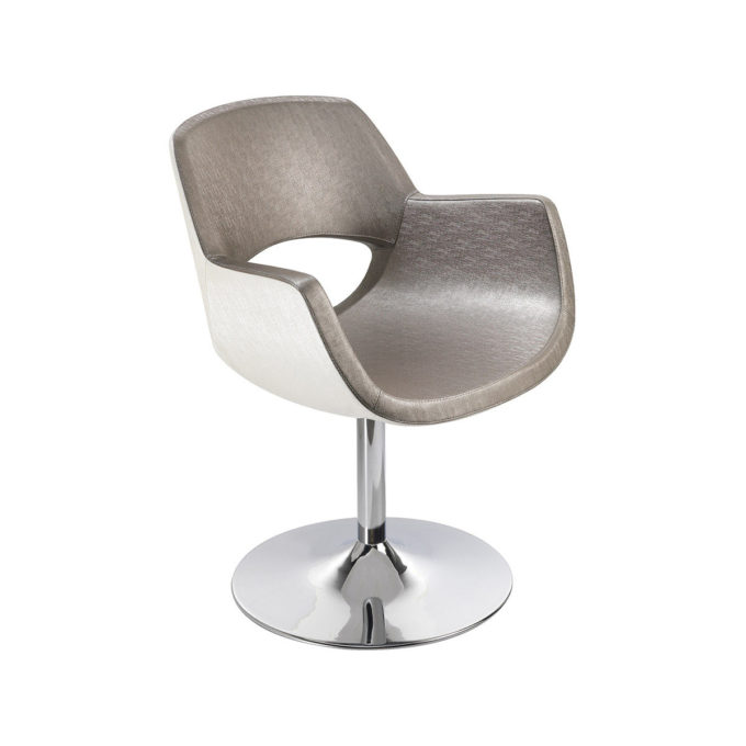 Elégant fauteuil de coiffage forme monobloc arrondie couleur blanc et taupe, pied rond