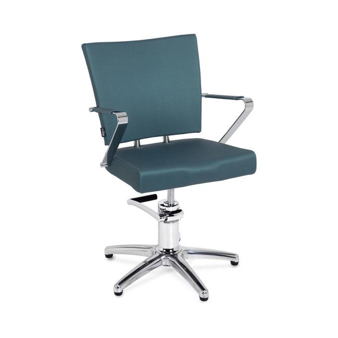 siège de coiffure avec pied étoile et accoudoir en métal, finition en skai vert bleuté