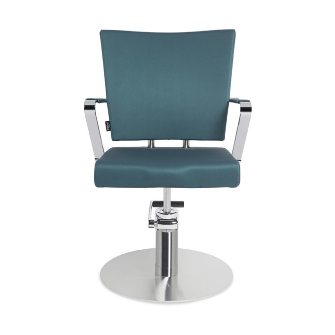 fauteuil de coiffure pied rond en métal brillant bleu