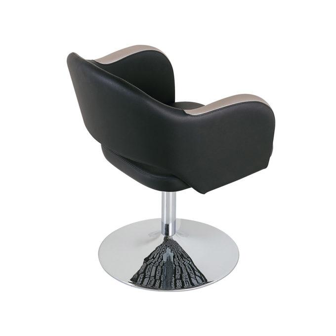 fauteuil de coiffure noir et argenté avec pied rond en inox brillant