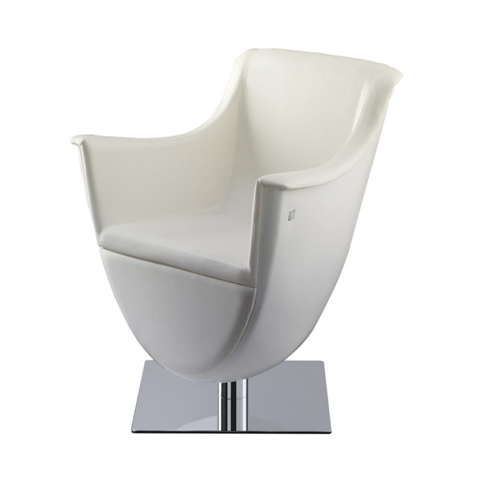 Siège de coiffure design contemporain blanc pied carré brillant