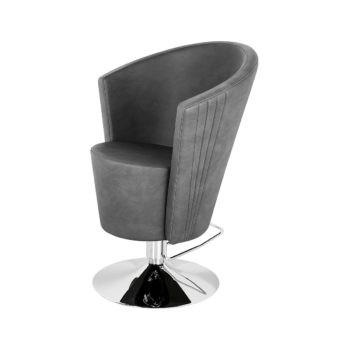 siège de coiffure en forme de cône, avec assise épaisse et enveloppante en skai, pied rond brillant