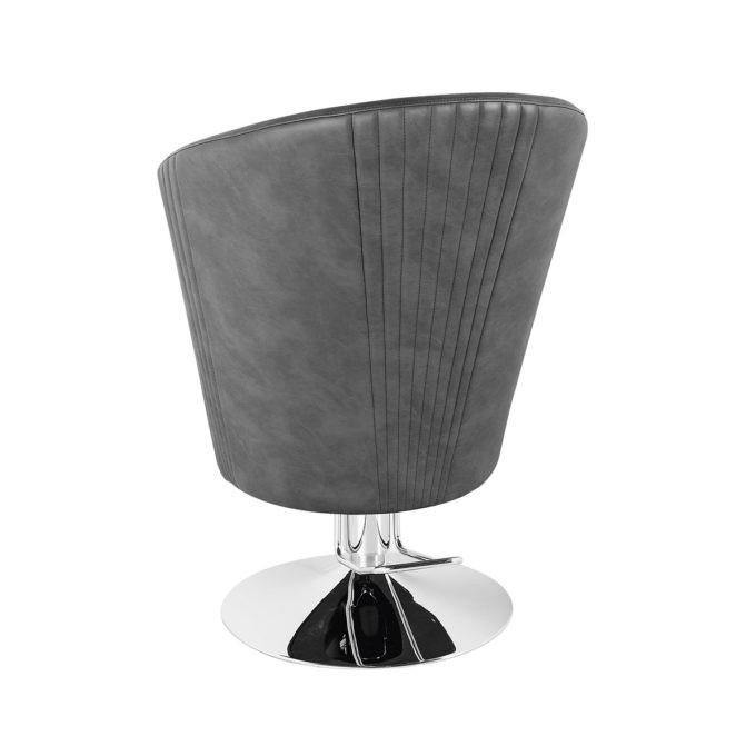 fauteuil de coiffure dossier haut en similicuir gris foncé