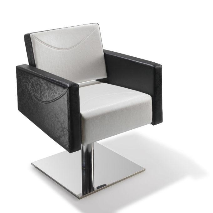 siège de coiffeur en skai granulé noir et blanc avec pied carré en métal brillant