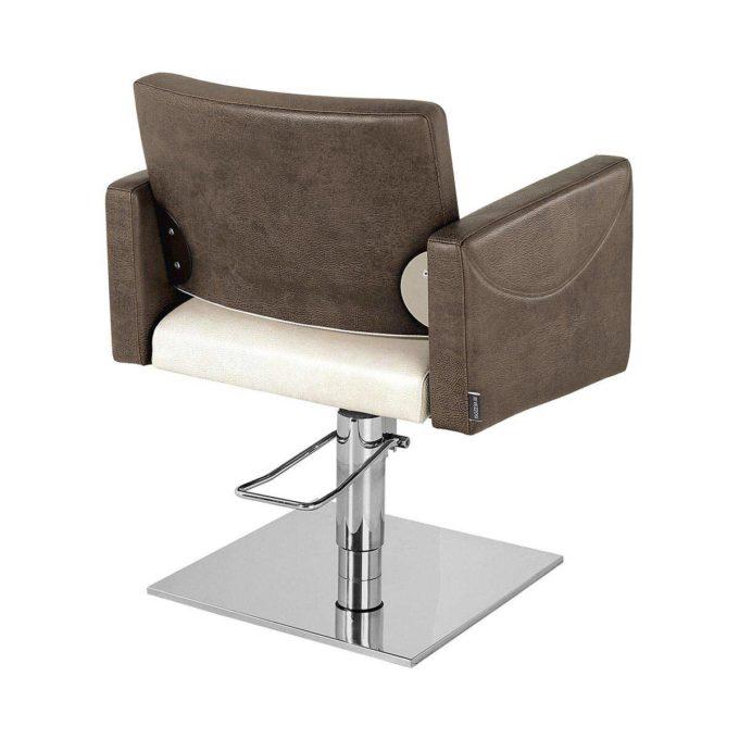 chaise de coiffeur marron et blanc avec pompe hydraulique
