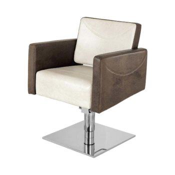 siège de coiffeur en skai granulé marron et crème avec pied carré en métal brillant