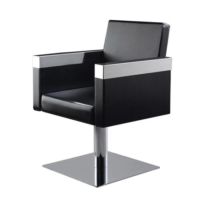fauteuil de coiffure élégant métal et similicuir noir pied carré