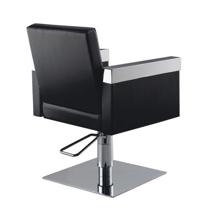 fauteuil de coiffure finition skai et chromé pied carré