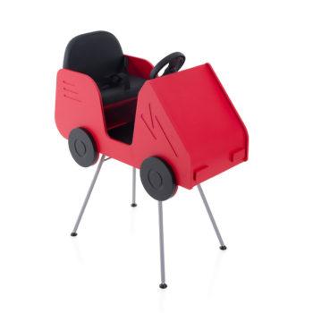 siège en forme de voiture avec volant couleur rouge avec pieds métallique
