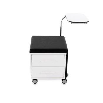 Tabouret manucure, assise noire avec rangements tiroirs et tablette en stratifié blanc