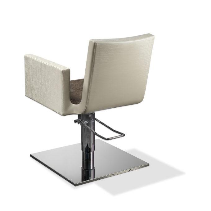 fauteuil de coiffure gaga, blanc et marron pied carré