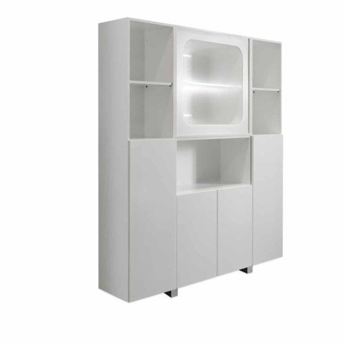 laboratoire en stratifié blanc avec placards, étagères et plan de travail, éclairage led