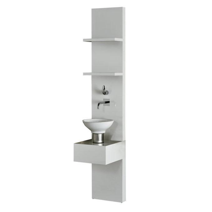 Structure stratifié, 2 étagères, 1 robinetterie, 1 vasque sur une base en inox, pour laboratoire coiffure
